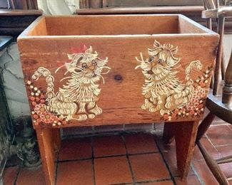 """$120  vintage wood bin with hand painted animal designs 24"""" H, 22.25"""" W, 13.5"""" D."""