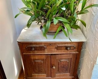 """$150 - Vintage marble top chest - 29"""" H, 28.5"""" W, 15.5"""" D. - plant not for sale"""