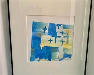 """$45 Print of crosses with hand sewn thread - As is -print has slid down in the frame.  17"""" H x 15"""" W."""