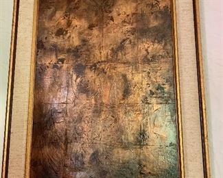 """$495 Pierre Jacquemon   (French 1936-2001) signed abstract oil framed.  27.5"""" H x 21.5"""" W."""