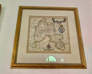 """$140 - Framed Map of Oxoniensis.  19.5"""" H x 19.75"""" W."""