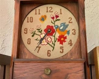 """$40.  Embroidered clock cabinet with drawer.   14.25"""" H, 10.5"""" W, 3.5"""" D."""