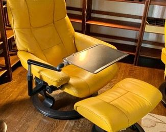 """$1100  Ekorn Stressless chair with ottoman, as is, minor scratches on left side of seat   Each 40"""" H, 30"""" W, 22"""" D, seat height 16"""" H. Available but without table"""