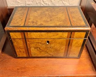 """$190  Vintage tea caddy with inlay -  5"""" H, 9"""" W, 5"""" D."""