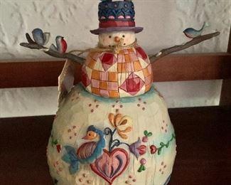 """$30 - Jim Shure snowman.  8.25"""" H, 5.25"""" diam."""