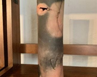 """$35  Pit-fired earthenware cylindrical vase.  9.75"""" H, 2.75"""" diam."""
