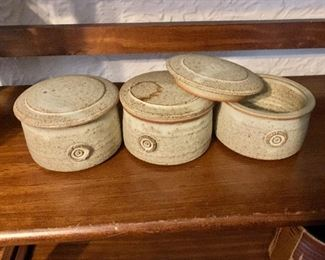 """$50 set of 3 stoneware cannisters with lids.  Each 2.75"""" H, 4.25"""" diam."""