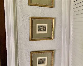 "$120 - Set of 3 lithographs -  Each 9.25"" H x 10"" W."
