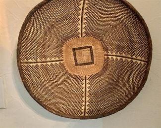 """$75 Woven shallow basket - 14.25"""" diam,  3.5"""" D."""