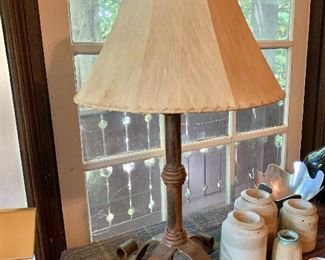 "$175  Iron lamp 32.5"" H, base 15"" diam."