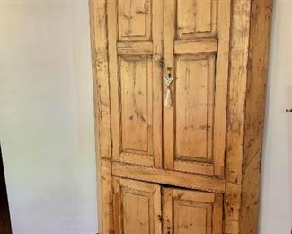 """$1,200 -  Vintage English country pine corner cupboard with red painted interior - 82"""" H, 46"""" W, 22"""" D."""