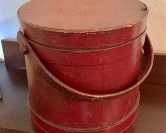 """$160  Vintage red painted firkin.  10"""" H, 10.25"""" diam."""