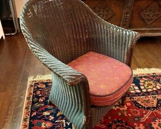 """$150  Vintage wicker chair.  38"""" H, 23.25"""" W, 20"""" D, seat height 17.25""""."""