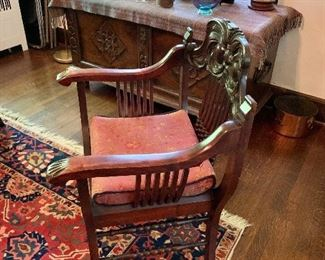 """$210  Vintage throne chair.  27"""" H, 7"""" W, 21"""" D, seat height 19""""."""