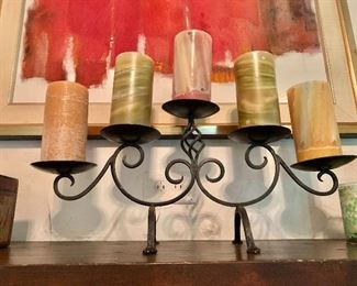 """$75  Metal candle stand with 5 candles.   9.75"""" H, 22.5"""" W."""