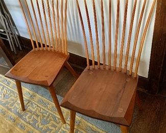 """$850 each  Thomas Moser fan back  side chairs, Auburn, Maine.   38"""" H, 21"""" W, 16.75"""" D, seat height 17""""."""