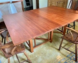 """$4,500  Thomas Moser cherry trestle-base dining table with 2 leaves.  As shown 76"""" L (including 22"""" leaf; another 22"""" is not shown), 54"""" W, 29.25"""" H."""