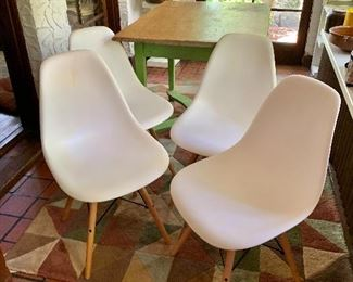 """$200 set of 4  MCM Urban Mod chairs.  Each 33"""" H, 18.5"""" W, 14.5"""" D, seat height 16.5""""."""