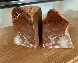 $95  Pair of petrified wood bookends #1