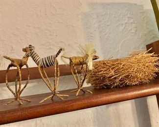 $60 - Group of wire animals and nest