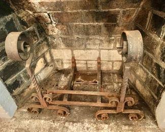 $195 - Vintage iron andirons