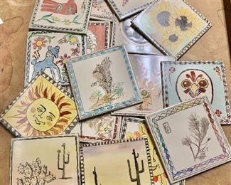 """$120 lot hand-painted tiles.  Each 6"""" x 6""""."""