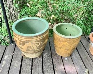 Planters - $95 for left, $50  for right AS IS has small crack near lid