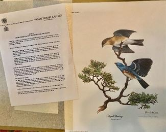"""$160 Set of 10 signed Ray Harm bird prints (each in original envelopes) .  Each 15"""" H x 12"""" W."""