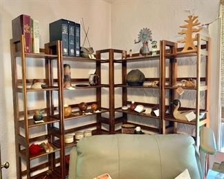 """More folding shelves! Far left and right (#3 and #4) each $90: each 74"""" H, 14"""" W, 11.75"""" D.  Two in the center (#5 and #6) each $120:  each 74"""" H, 28"""" W, 11.75"""" D. #4 SOLD"""