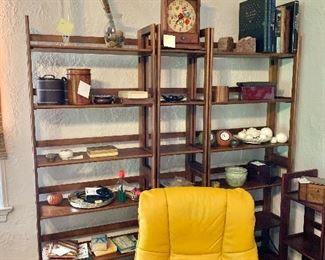 """More folding shelves! Left and right (#7 and #8) each $120: each 74"""" H, 28"""" W, 11.75"""" D.  Center (#9) $90:  74"""" H, 14"""" W, 11.75"""" D."""