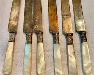 """$40 - Set of 6 knives with mother of pearl handles.  Each 8.5"""" L."""