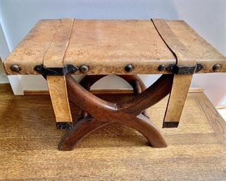 $125 Leather studded  stool with straps
