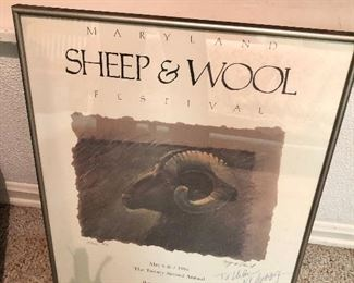 $75 - Sheep and Wool framed poster signed by designer