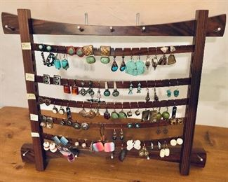 Overview earrings  $150 Mid century earring stand SOLD
