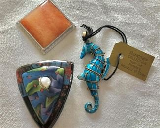 "$40 each - Pendant, pin and cloisonne sea horse pendant   Top: 2""L.  Bottom: 2""L; 1.5""W.  Sea horse pendant SOLD : 2""L"