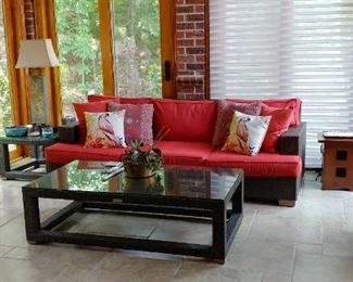 RESTORATION HARDWARE  $900 FOR SOFA AND CHAIR AND $400 FOR COFFEE TABLE AND END TABLE patio/sunroom furniture