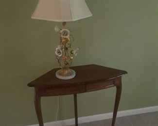 Corner table; Florentine style lamp with painted metal flowers and gold leaf foliage