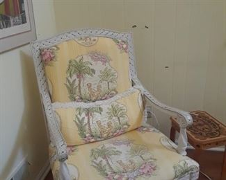 French style frame, matching upholstered sofa fabric