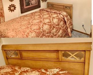 * PRESALE NOW Call / Email me for a scheduled time to come see during PRESALE.  Blonde Wood Vintage Twin 4 Piece Bedroom Set - Includes Twin Bed/Headboard, Long Dresser with Mirror, Nightstand and TallBoy Chest of Drawers. All original. Located in South County (Sappington & Tesson Ferry) Main Floor $325 Blonde Set Twin BedFrame 42 w x 38 t  Nightstand 19 w x 28 t x 18 d Long dresser 55 w x 34 t x 22 d  Tallboy 37 w x 47 t x 20 d