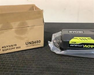 """Located in: Chattanooga, TN Condition """"New in Box"""" MFG Ryobi Power (V-A-W-P) V-40 Battery *Sold As Is Where Is*  SKU: E-5-B"""