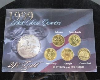 5 Image(s) Yr: 1999 Denomination State Quarters Set Located in: Chattanooga, TN Plated in .999 Pure Gold Delaware, Georgia, New Jersey, Connecticut, Pennsylvania