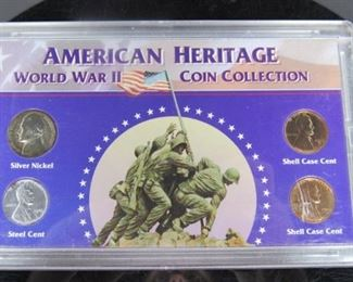 8 Image(s) Yr: 1942-1945 Denomination American Heritage WWII Series: Collection Located in: Chattanooga, TN Mint - P, D, S *Case Cracked, Coin Appears Fine*