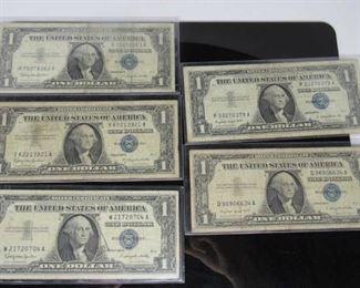 Denomination $1 Silver Certificates Located in: Chattanooga, TN (2) 1957A (3) 1957B