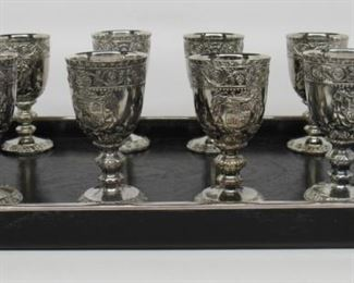 """10 Image(s) Located in: Chattanooga, TN Silver Goblets & Tray 3 1/4"""" Tall Rhodium Plated Over Brass *Sold As Is Where Is*"""