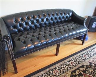 Black Leather Tufted Chesterfield Style Sofa & Wing Chairs