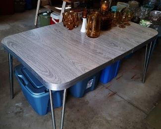 50s Chrome & Formica kitchen table, gray wood tone