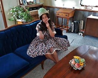 1940s blue velvet sofa