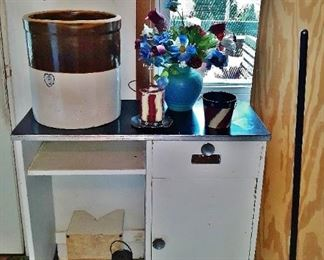 6-gallon dairy crock and antique Bissel carpet sweeper