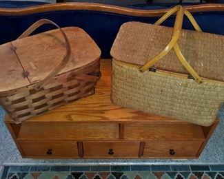 Antique picnic baskets