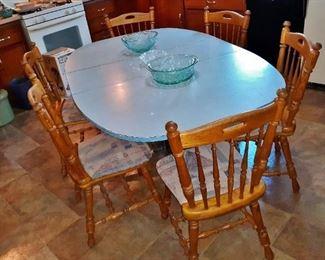 50s Chrome & Formica kitchen table, aqua